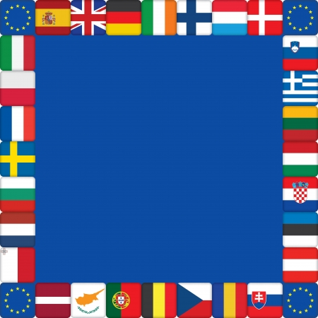 kingdom of spain: blue background with European Union flags icons frame
