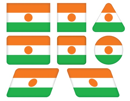 set of buttons with flag of Niger Vector