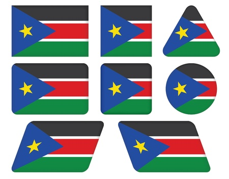 set of buttons with flag of South Sudan Vector