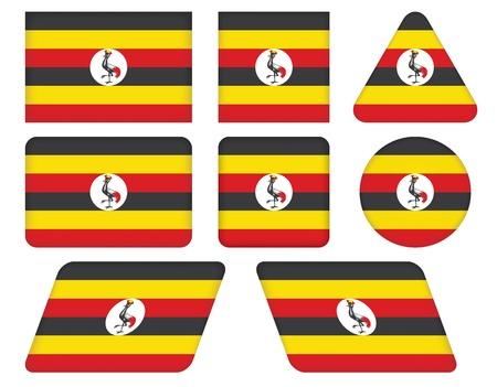uganda: set of buttons with flag of Uganda
