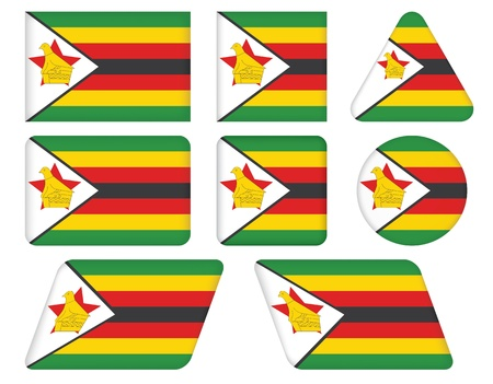 set of buttons with flag of Zimbabwe Vector