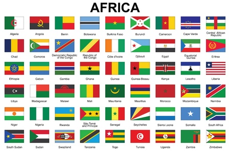 set of buttons with flags of Africa Vector