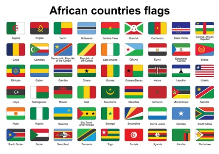 set of African countries flag buttons with rounded corners Vector