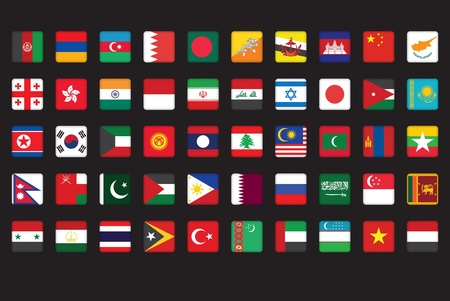 set of Asian flags icons over black