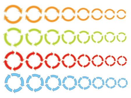 set of color cycling arrows icons Vector