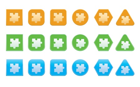 set of jigsaw puzzle part icons of different shape Vector