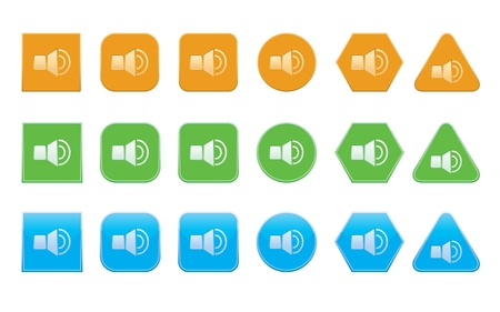 set of sound on icons of different shape Stock Vector - 20917201