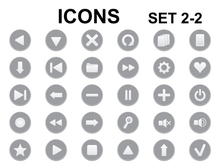 set of black and white round icons Vector
