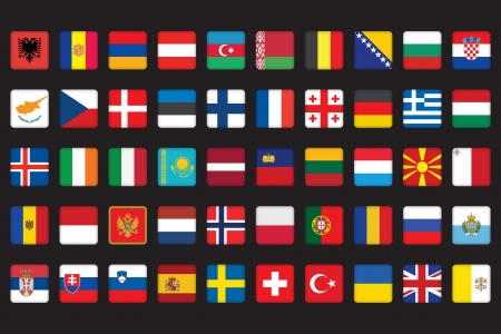 set of rounded square icons with flags of Europe Vector