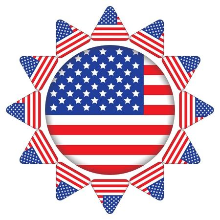 verenigde staten vlag: zon gemaakt van de Verenigde Staten vlag iconen