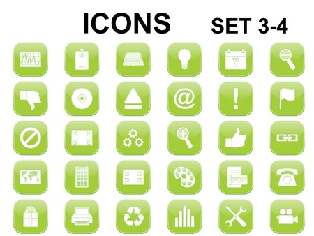 set of green square icons with rounded corners Vector