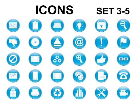 set of blue glossy round icons Vector