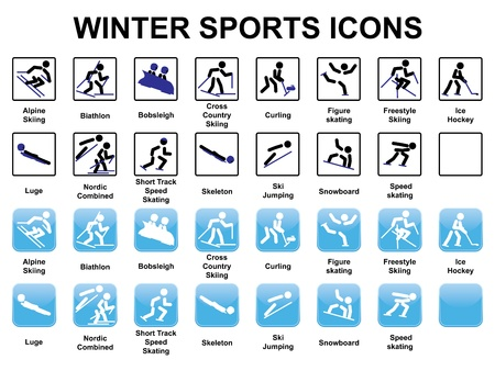 luge: set of winter sports icons