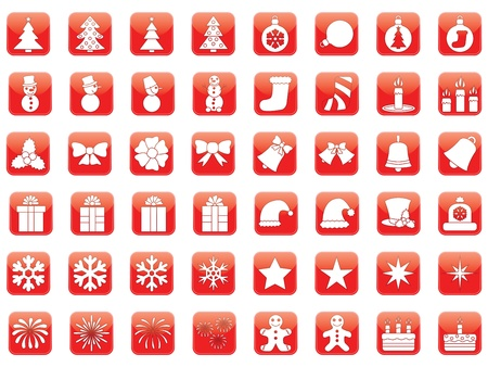set of red Christmas icons Stock Vector - 21157473