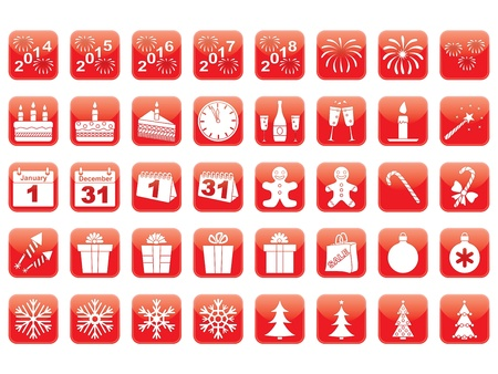 set of red New Year icons Vector
