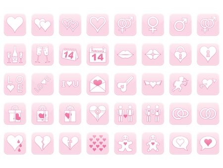 set of pink icons for Day of Valentine Vector