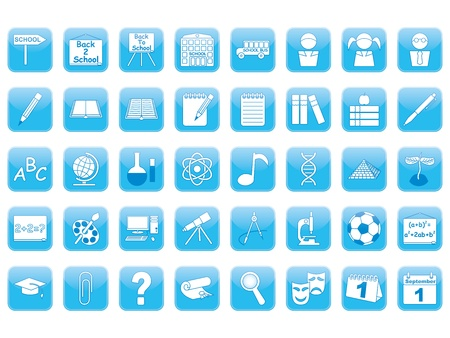 set of blue education icons Vector