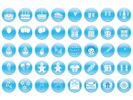 set of round birthday icons Stock Vector - 21579775
