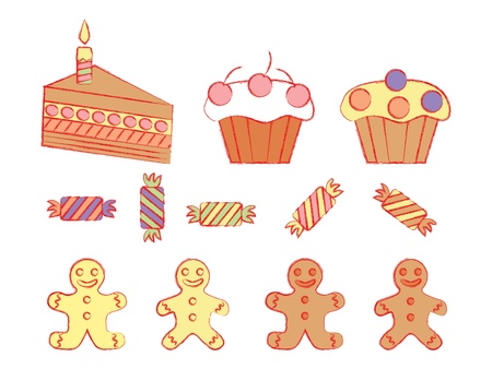 set of birthday sweetmeats Stock Vector - 21579777