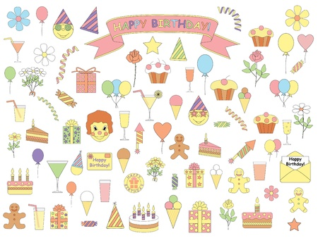 set of color birthday icons Stock Vector - 21579789
