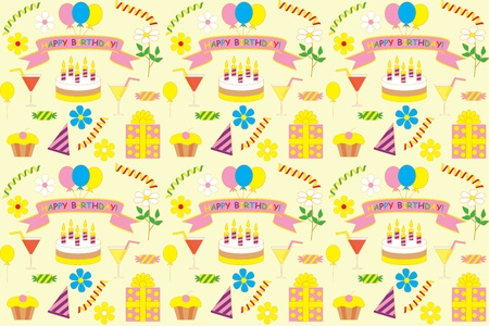 abstract seamless happy birthday pattern Vector