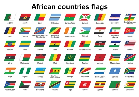 set of African countries flags icons Vector
