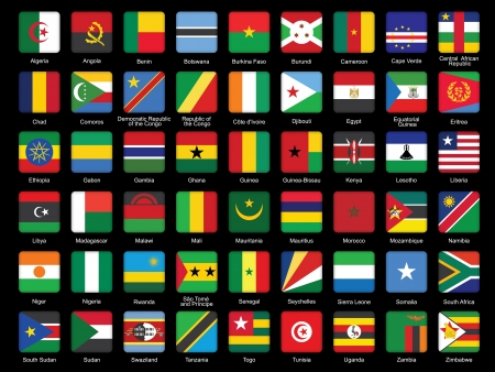 set of African flags icons over black Vector