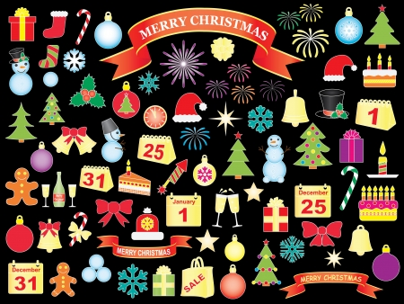 set of Christmas and New Year icons over black Stock Vector - 21579932
