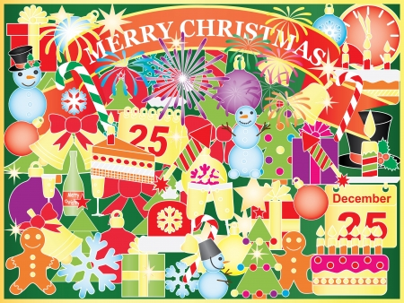 Christmas background with mix of Xmas symbols Vector