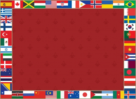 royal lily background with world flags frame Vector