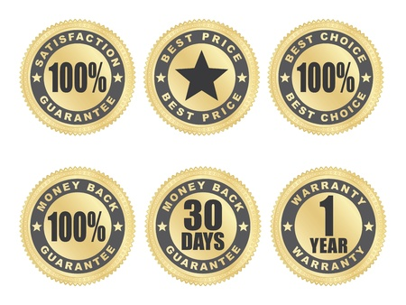 set of golden satisfaction guarantee seals Vector