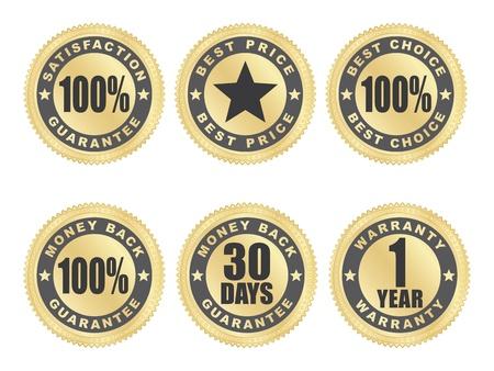 one year warranty: set of golden satisfaction guarantee seals