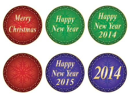 set of Merry Christmas and Happy New Year seals Vector
