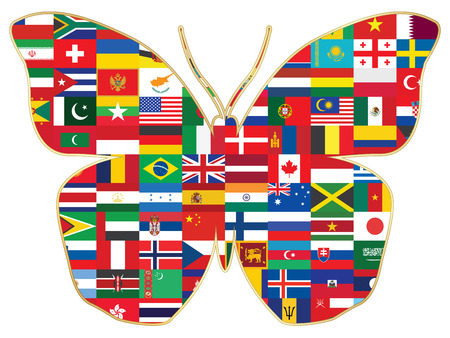 cuba flag: butterfly made of world flags