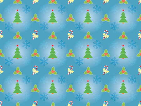 blue seamless Christmas pattern with Xmas symbols Vector