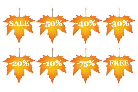 set of maple leaves with sale discounts Vector