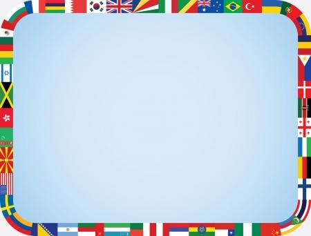 Banderas del mundo marco con la ilustraci?n vectorial redondeadas esquinas