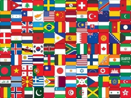 世界の旗のアイコンから成っている背景  イラスト・ベクター素材