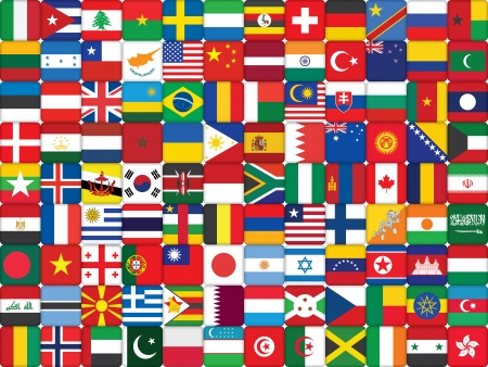background made of world flag icons Vector