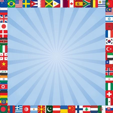 rayos fondo cuadrado azul con banderas iconos marco