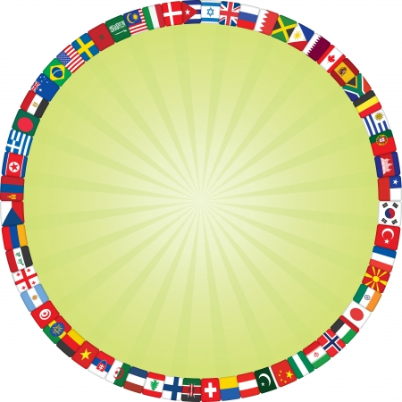 flags icons frame around green rays background Vector