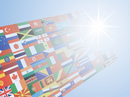 blue background with flags over sunshine Vector