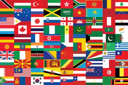 seamless background with some of world flags Vector