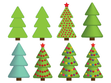 set of Christmas tree icons Vector