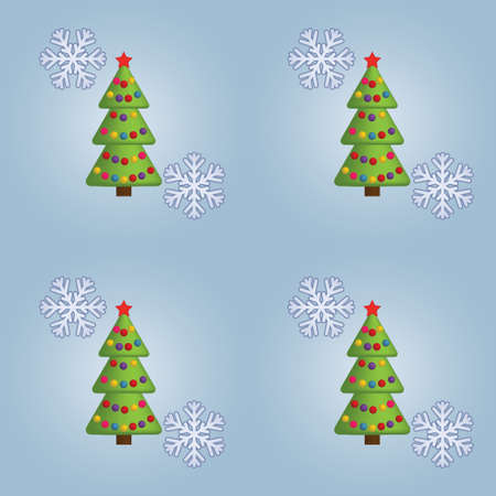 seamless Christmas pattern with Xmas trees and snowflakes Vector
