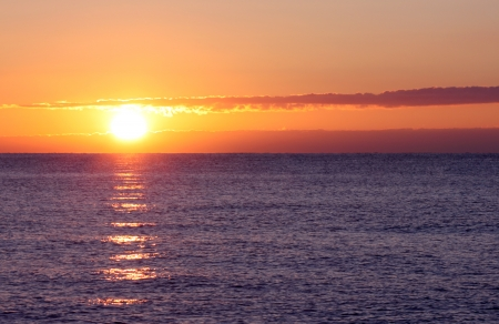 view on sunrise in sea photo