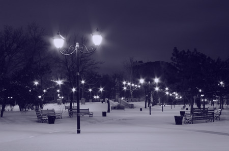 park in Nikolaev at winter night photo