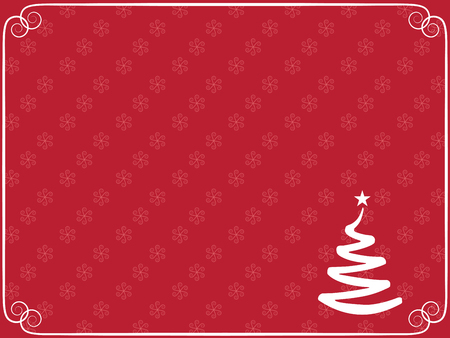 red Christmas with snowflakes and Xmas tree Vector