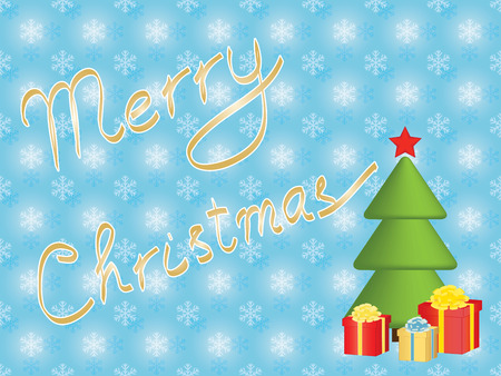 Merry Christmas background with Xmas tree and presents Vector