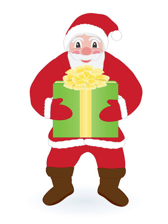 Santa Claus with present over white Vector